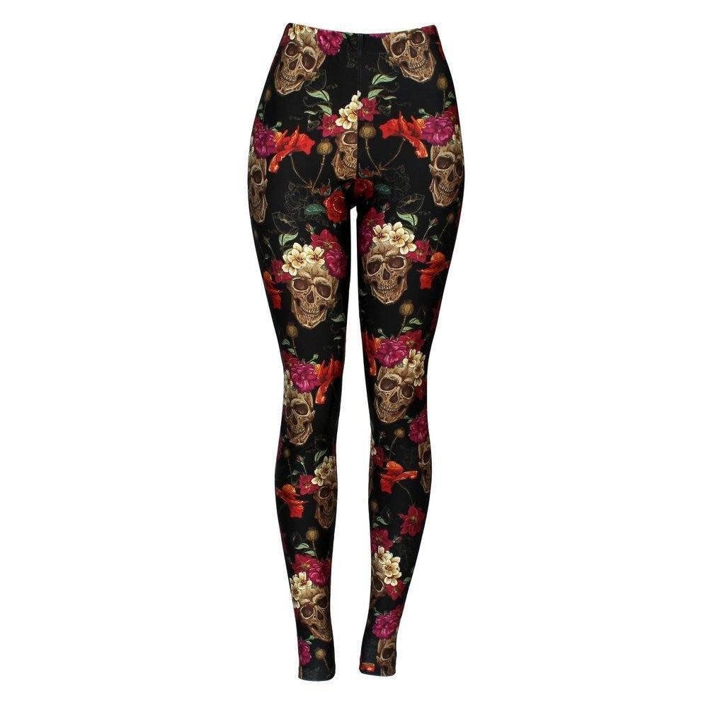 Calça Legging Feminina Skull N' Flowers - Bloody Hell Wear