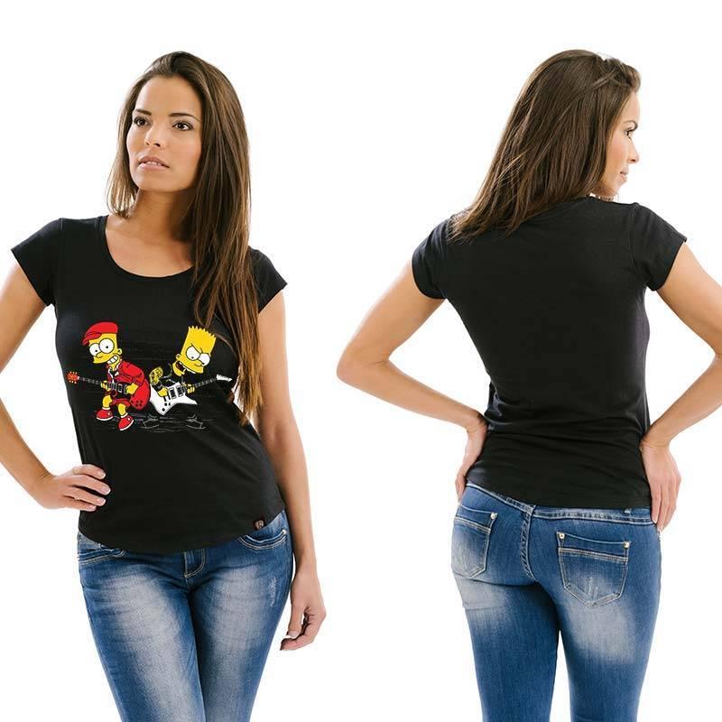 Camiseta feminina Bart Duelo de Guitarras