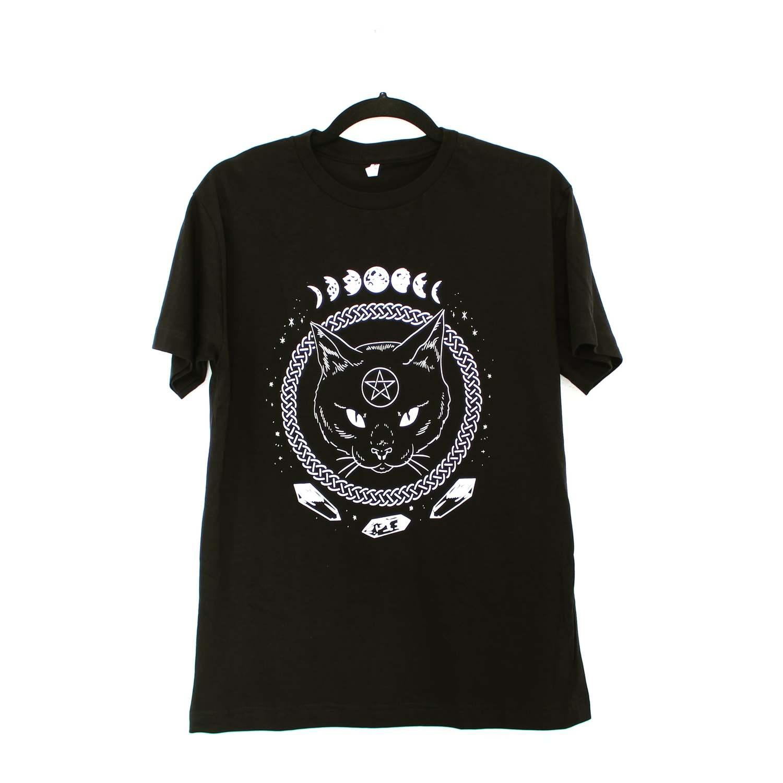 Camiseta Gato Pentagrama Gótico