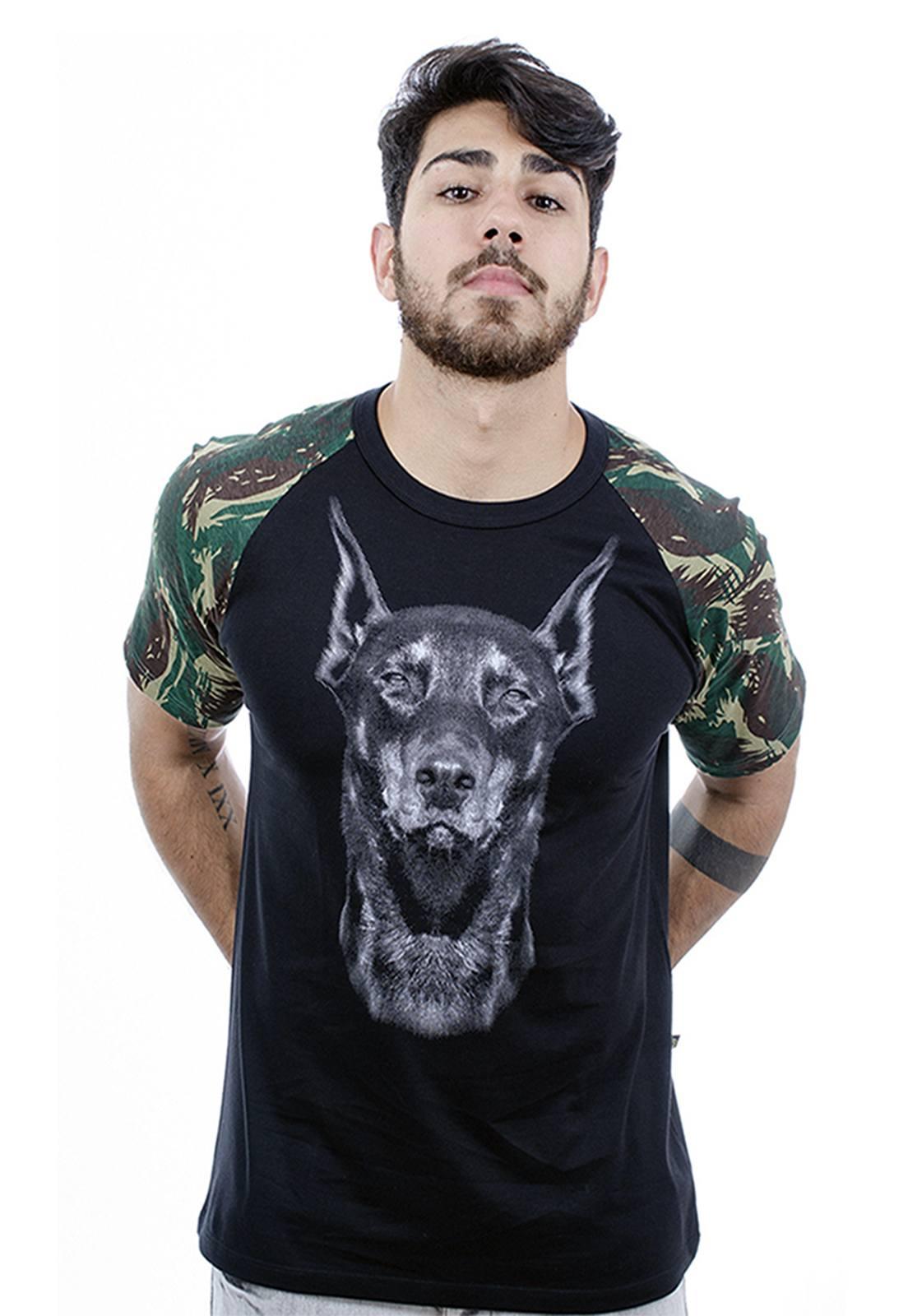 Camiseta masculina preta Army - 100% algodão - Hardivision