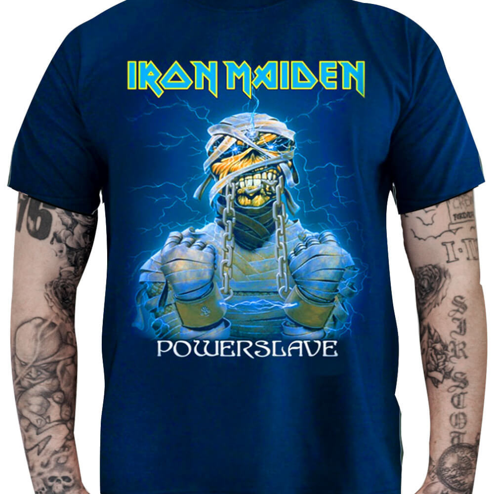 Camiseta IRON MAIDEN – Powerslave Azul