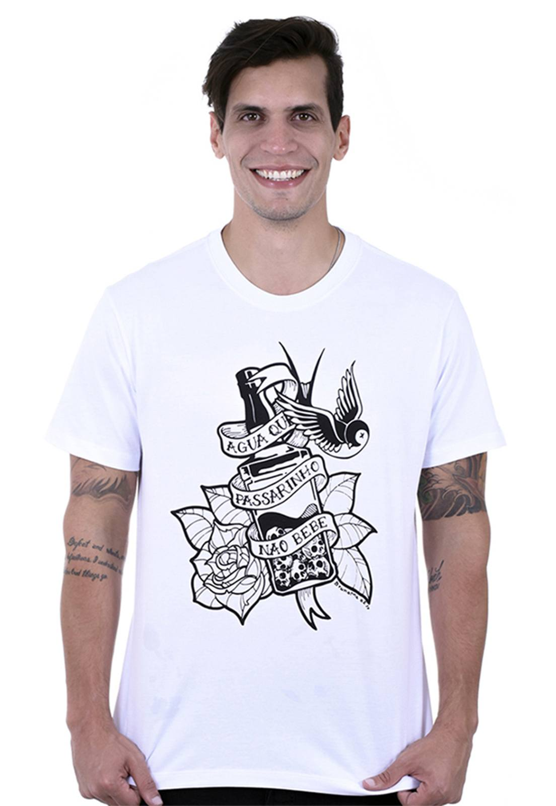 Camiseta masculina branca Jack - 100% algodão - Hardivision
