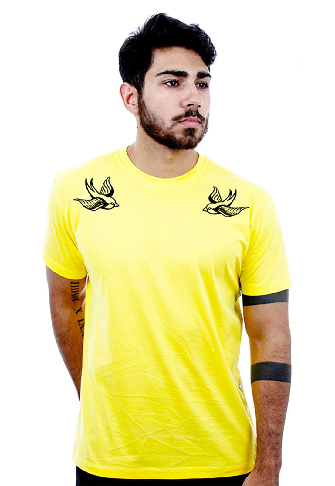 Camiseta masculina amarela Andorinhas - 100% algodão - Hardivision
