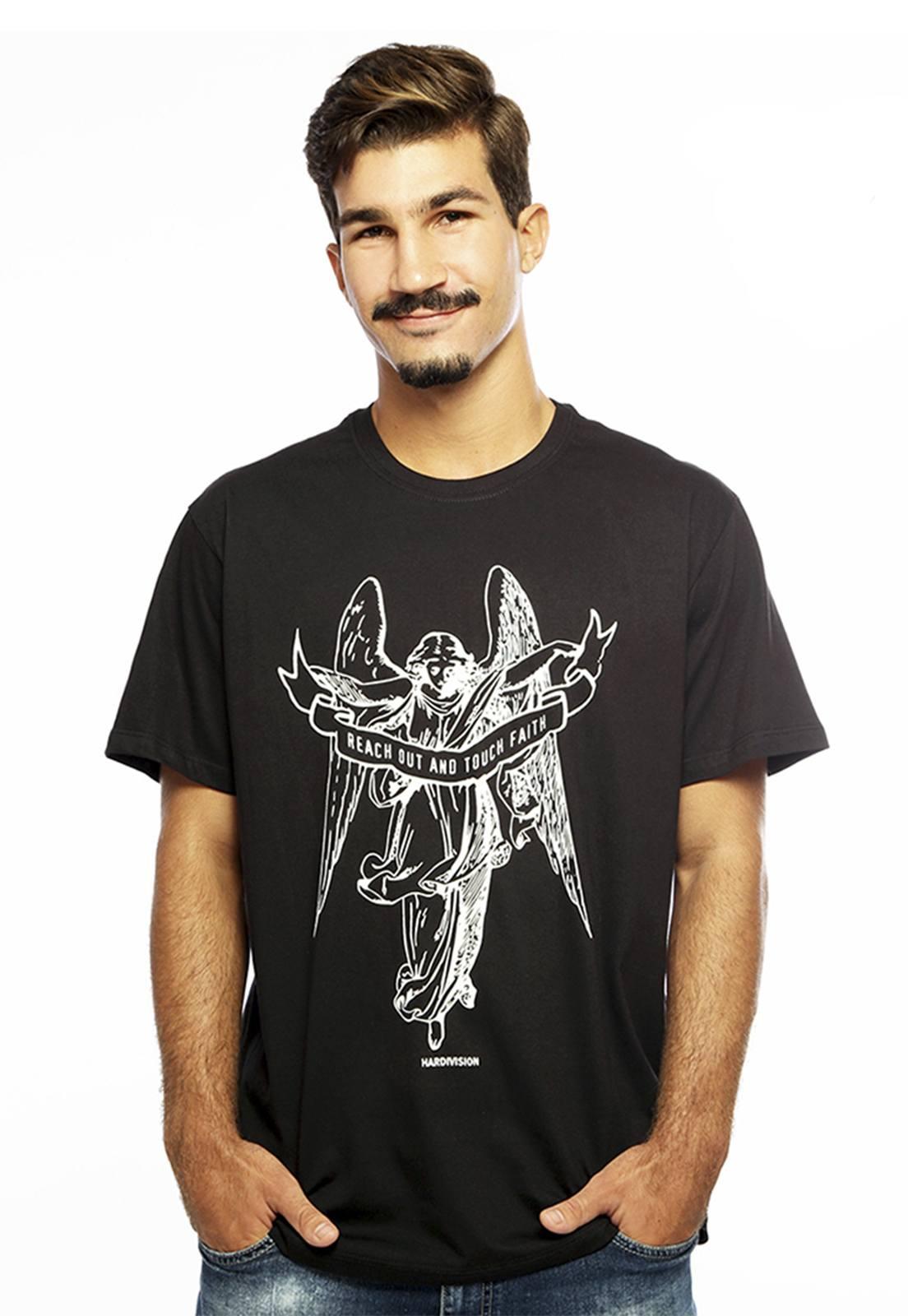 Camiseta masculina preta Anjo - 100% algodão - Hardivision
