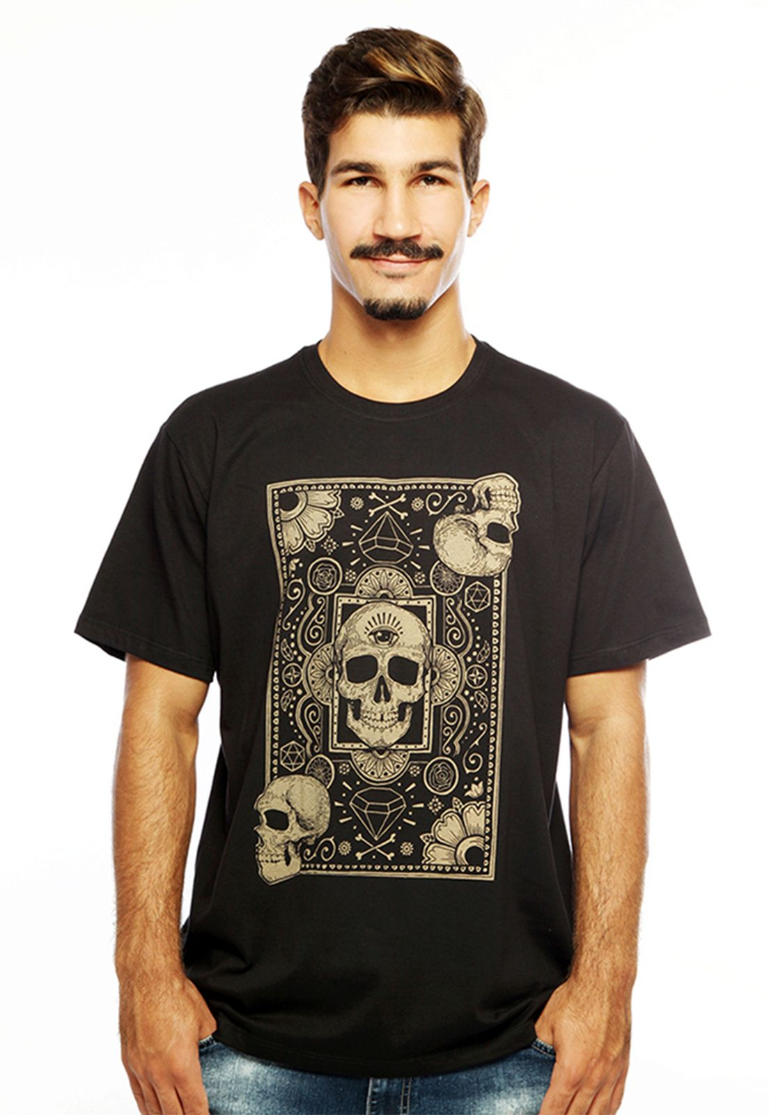 Camiseta masculina preta Cards of Skull - 100% algodão - Hardivision