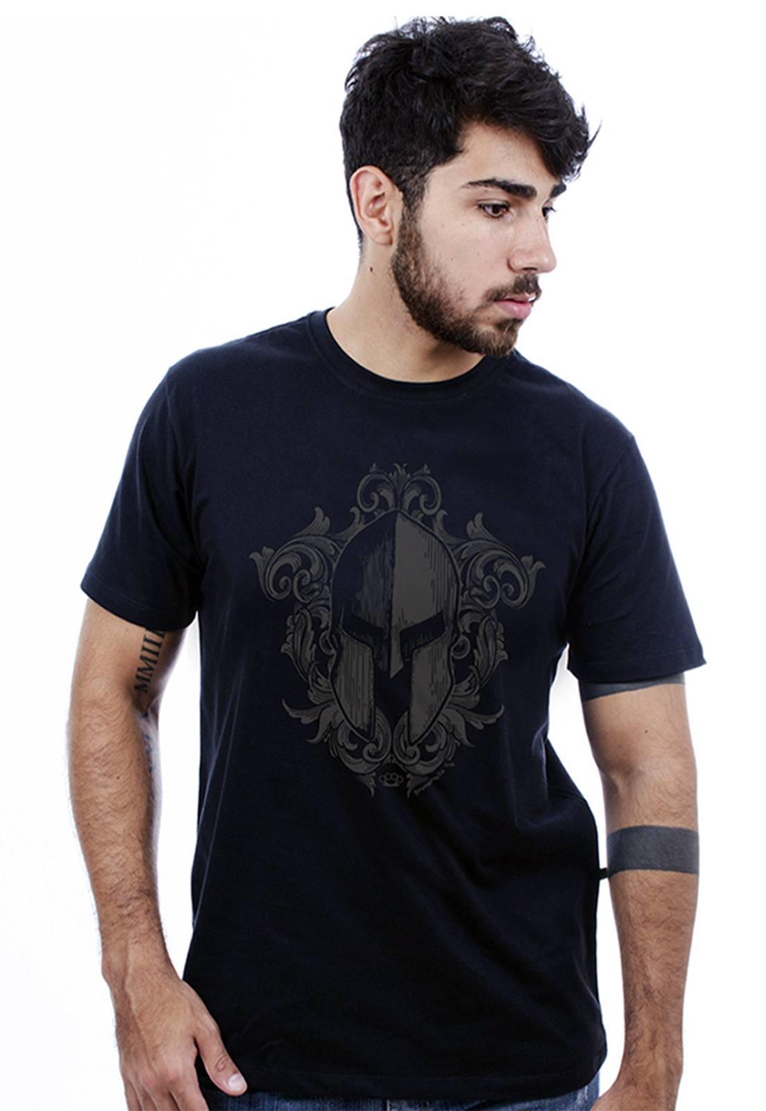 Camiseta masculina preta Elmo - 100% algodão - Hardivision
