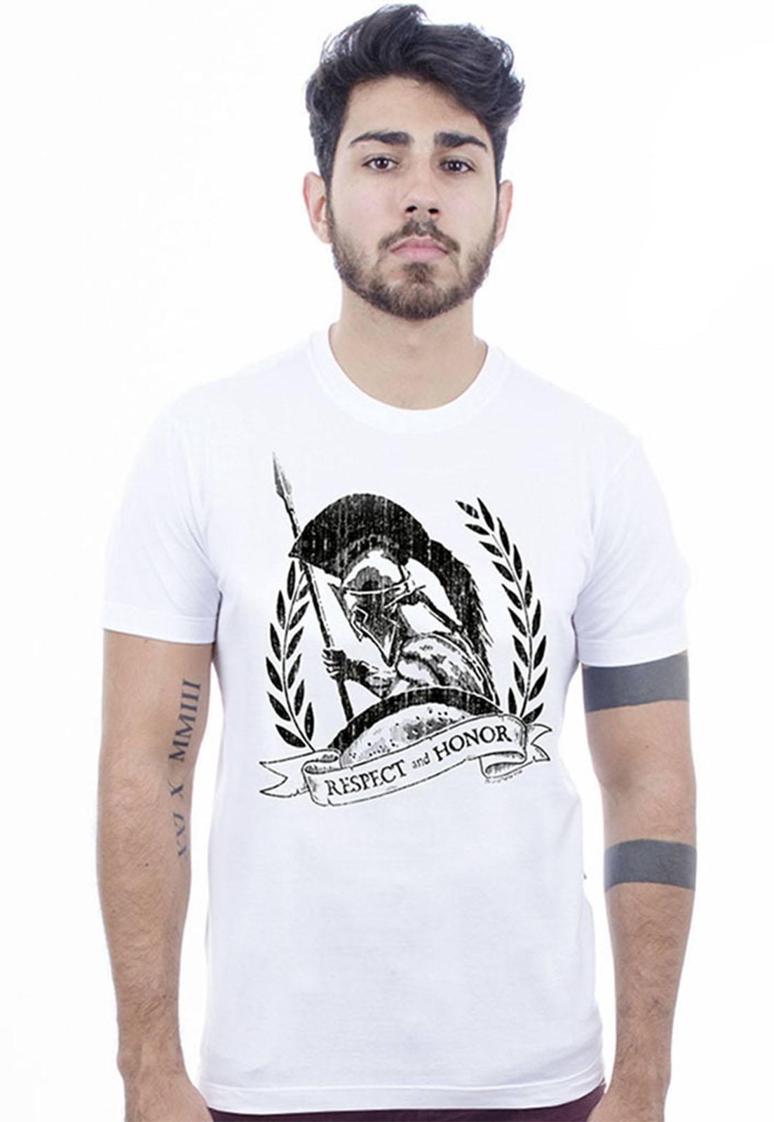 Camiseta masculina branca Esparta - 100% algodão - Hardivision
