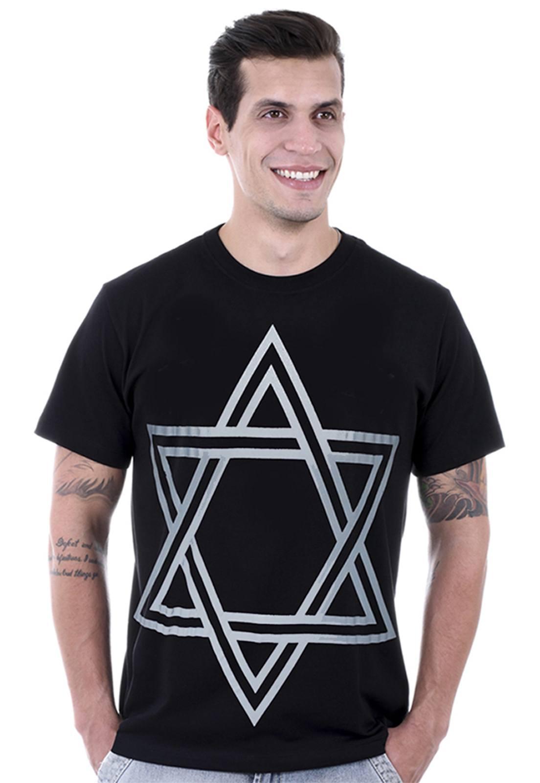 Camiseta masculina preta Estrela de Davi - 100% algodão - Hardivision
