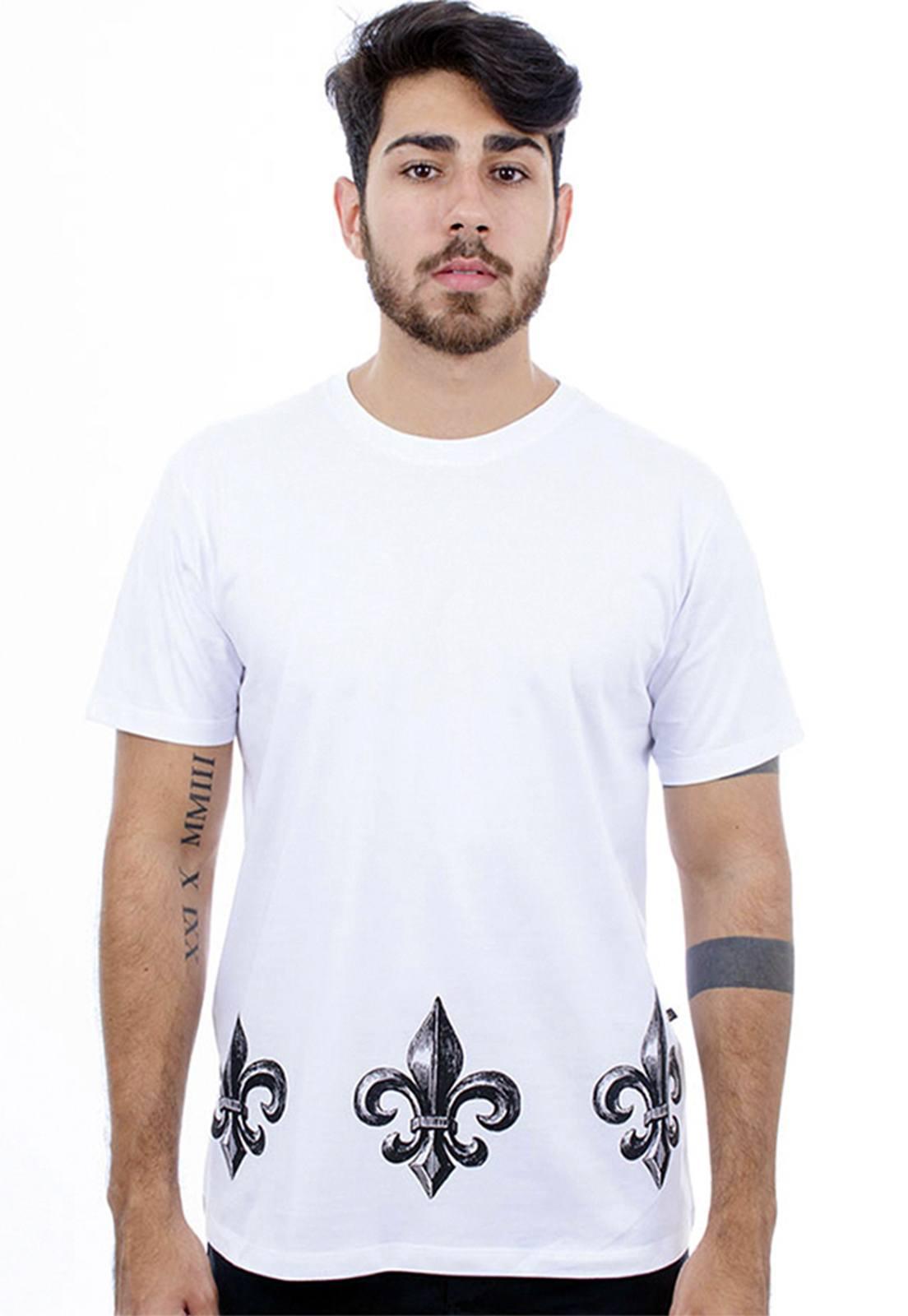 Camiseta masculina branca Flor De Lis - 100% algodão - Hardivision
