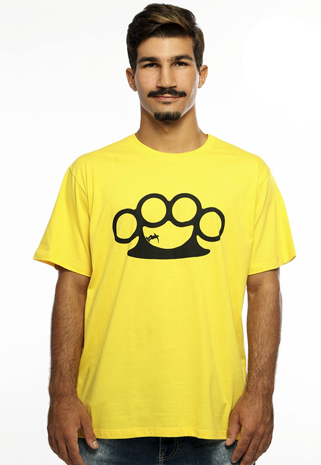 Camiseta masculina amarela Half Pipe - 100% algodão - Hardivision