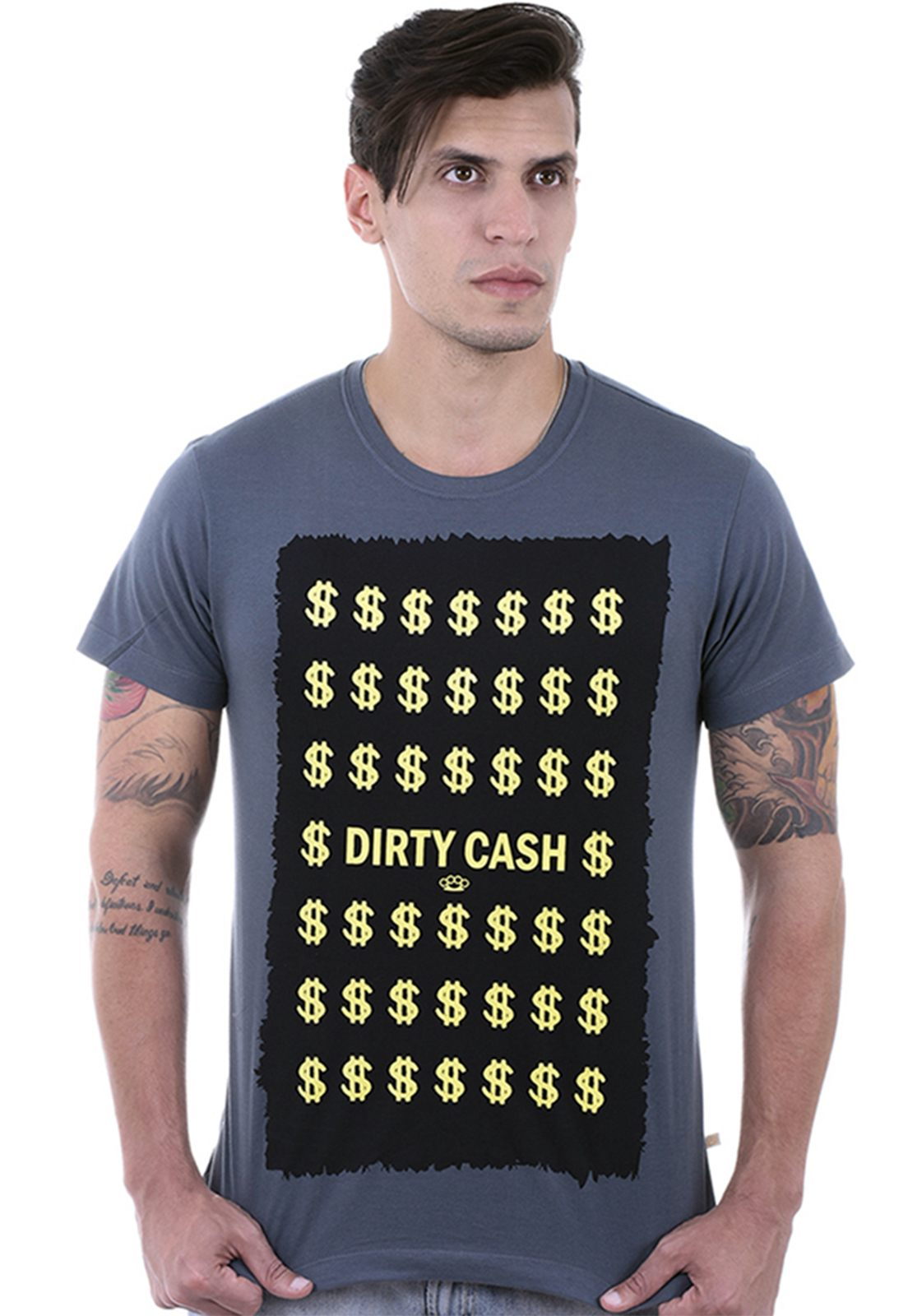 Camiseta Hardivision Dirty Cash Manga Curta Cinza Chumbo