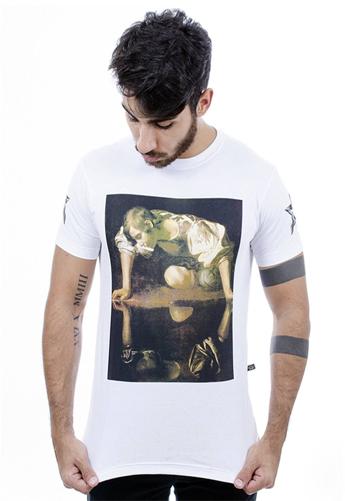 Camiseta masculina branca Reflex - 100% algodão - Hardivision