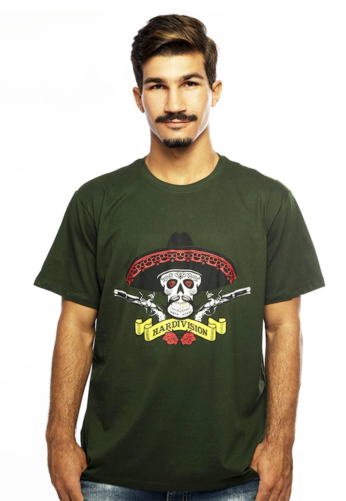 Camiseta masculina verde Hombre - 100% algodão - Hardivision