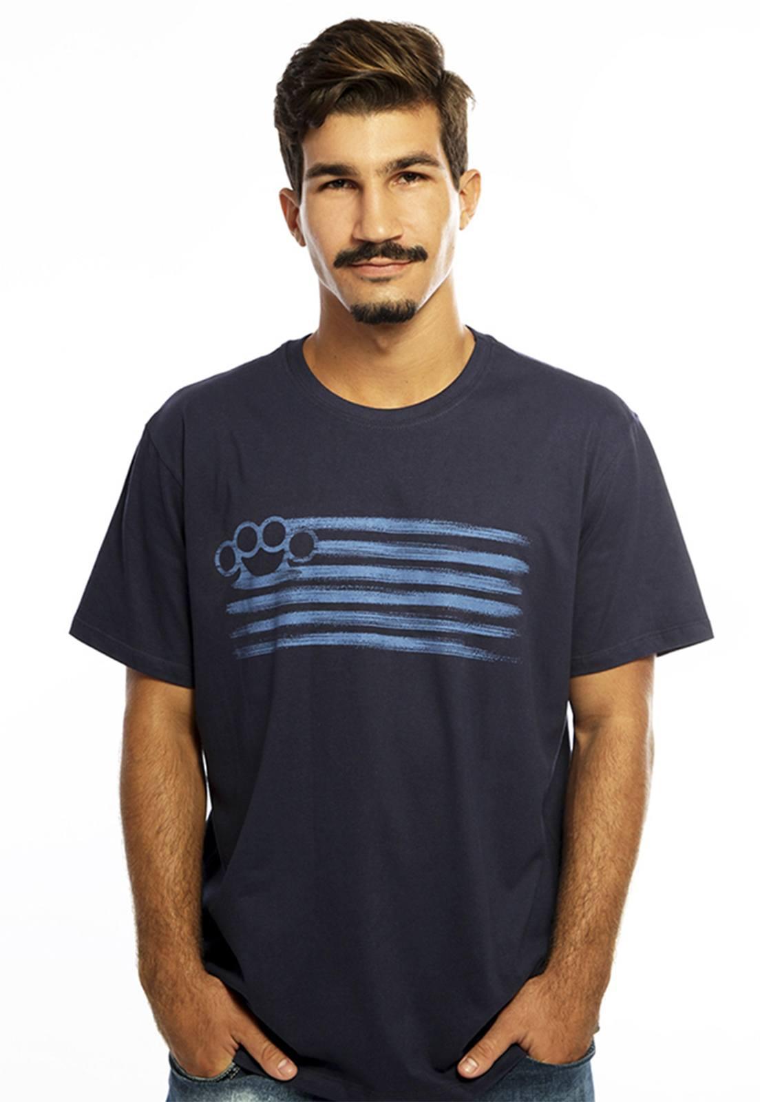 Camiseta masculina azul Punch - 100% algodão - Hardivision