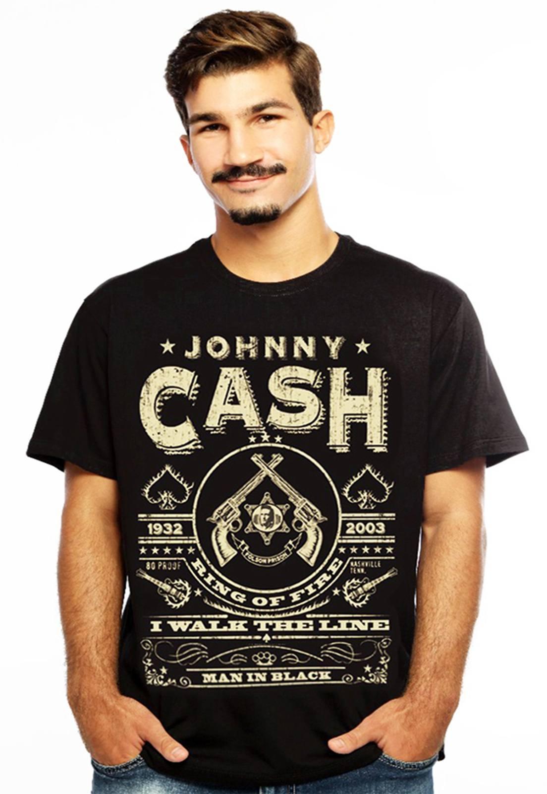 Camiseta masculina preta Rebel - 100% algodão - Hardivision