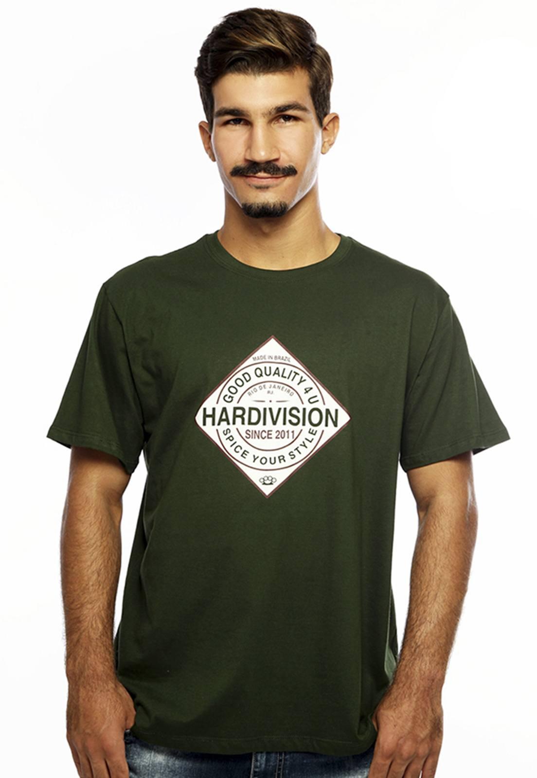 Camiseta masculina verde Spice - 100% algodão - Hardivision