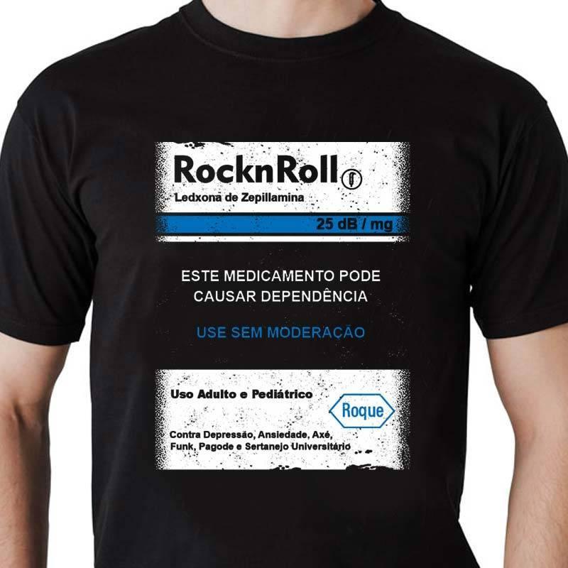 Camiseta masculina Rock n' Roll Tarja Preta