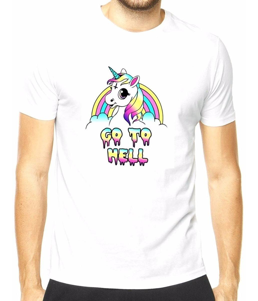 Camiseta masculina Unicórnio Go To Hell