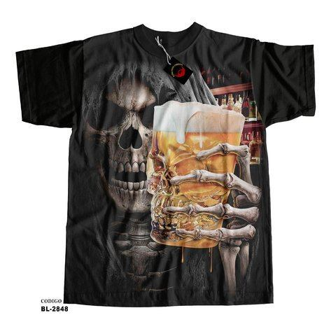 Camiseta unissex  Death Drinking Beer