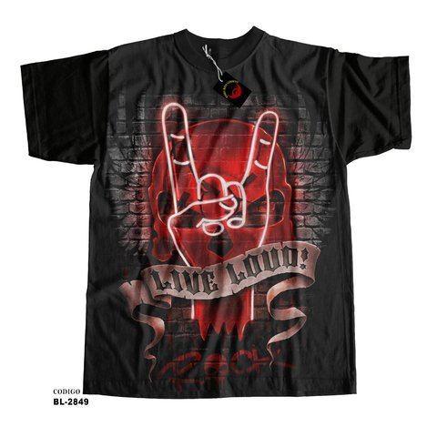 Camiseta unissex Live Loud Rock
