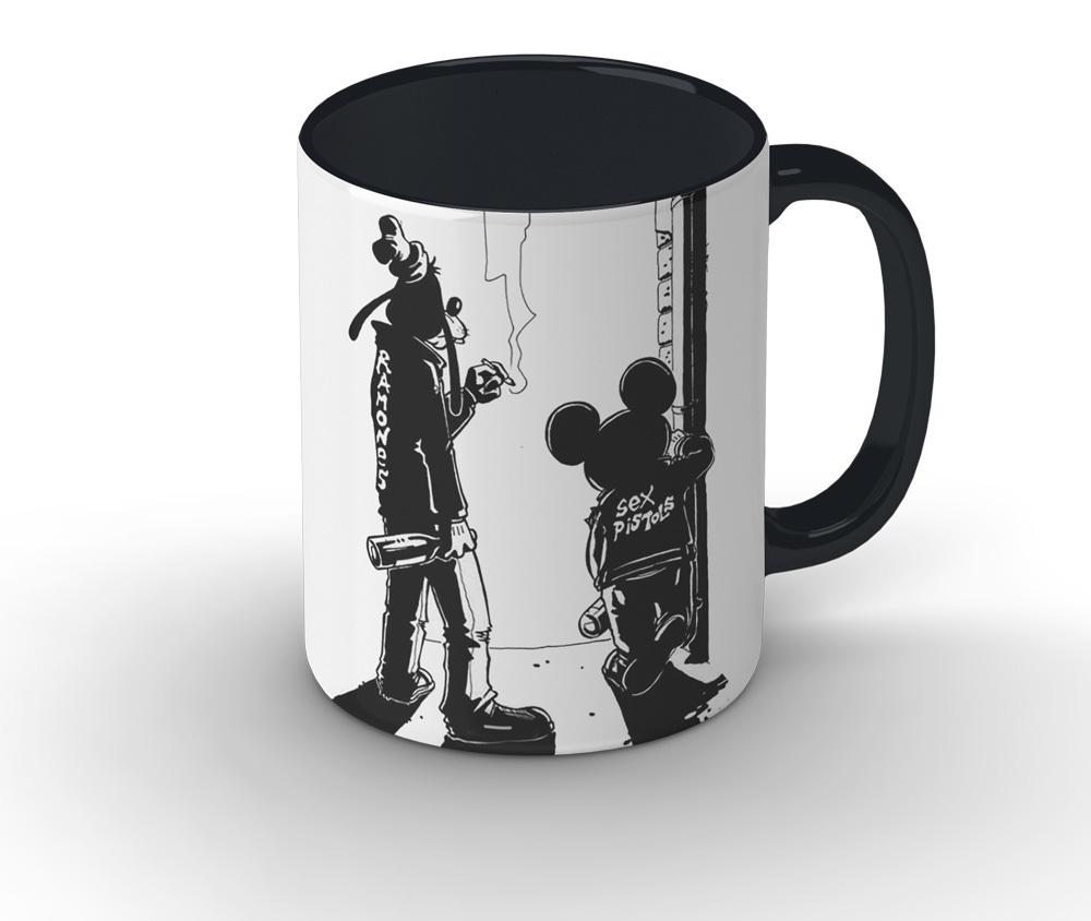 Caneca cerâmica branca com alça e interior preto - Sex Pistols & Ramones