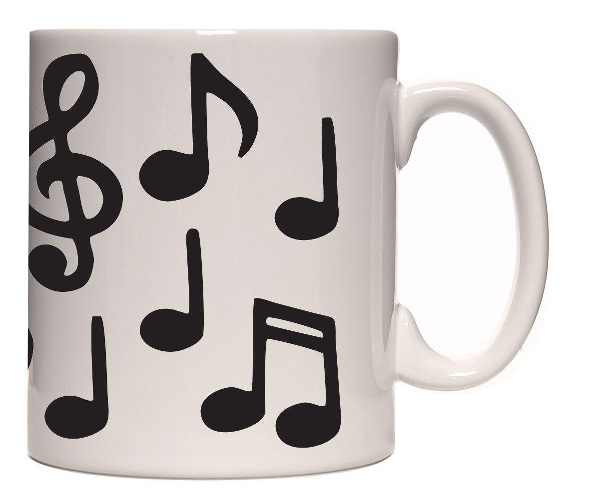 Caneca porcelana notas musicais pretas