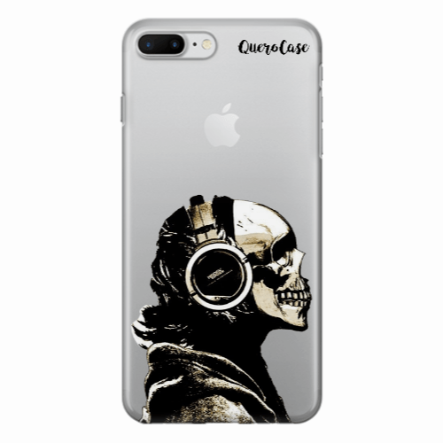 Capa de Celular Caveira Headphone Transparente