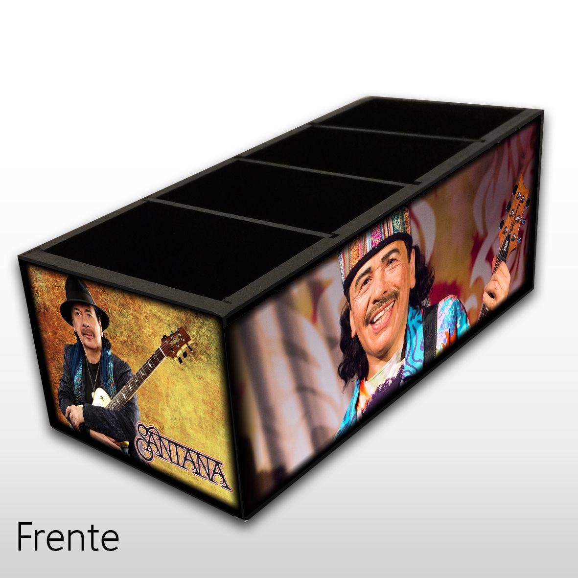 Carlos Santana - Porta Controles em Madeira MDF - 4 Espaços - Mr. Rock