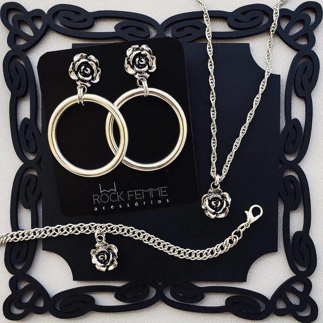 Conjunto Rosas - Brinco, colar e pulseira - Rock Femme Acessórios