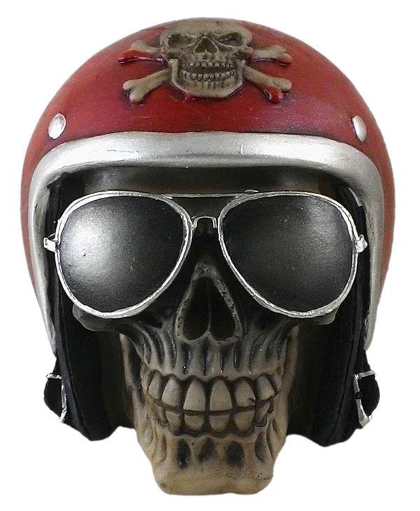 Crânio Caveira Motoqueiro Capacete Vermelho Óculos Decorativo Resina