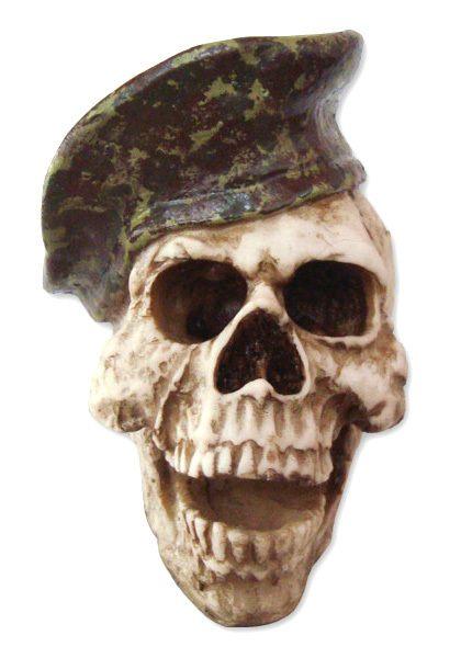 Crânio Caveira Skull Boina Exercito Camuflada Decorativo Resina