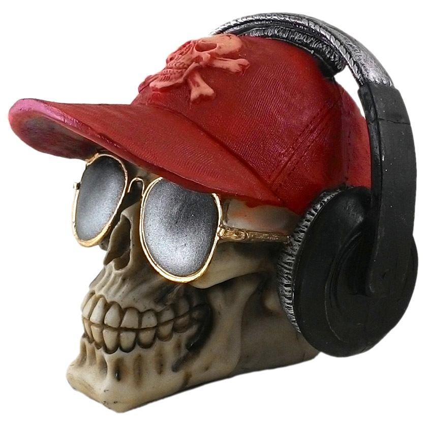 Crânio Caveira Skull Boné Vermelho Fone Óculos Decorativo Resina