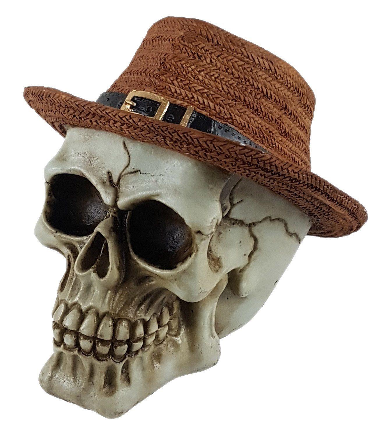 Crânio Caveira Skull Chapéu De Palha Marrom Decorativo Resina