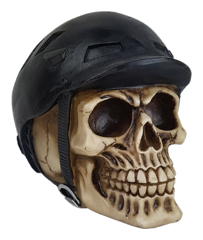 Crânio Caveira Skull Ciclista Capacete Decorativo Resina