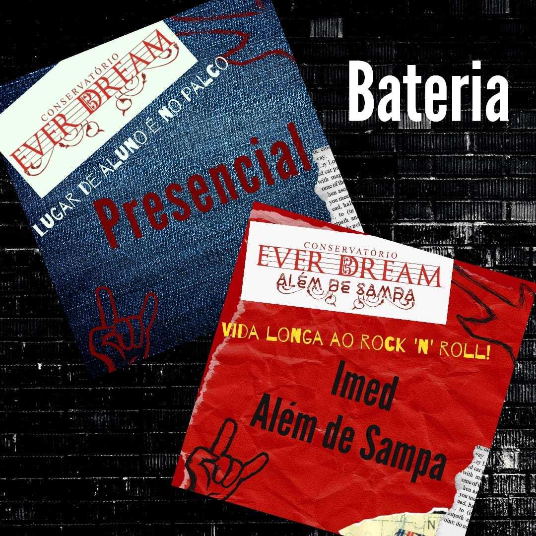 Curso de Bateria - Presencial ou On-line com duração 6 meses - Conservatório Ever Dream