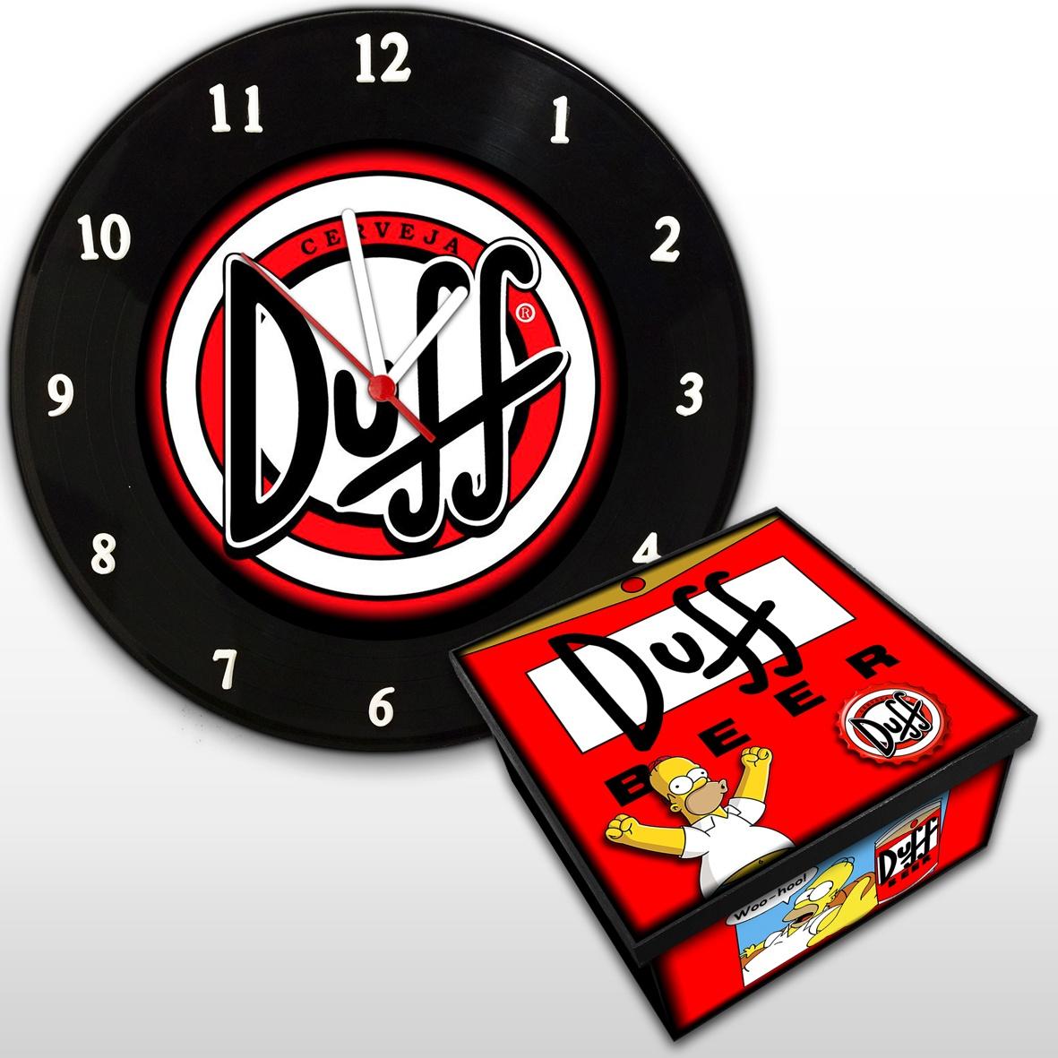 Duff The Simpsons - Kit Com Relógio De Parede + Caixa Mdf
