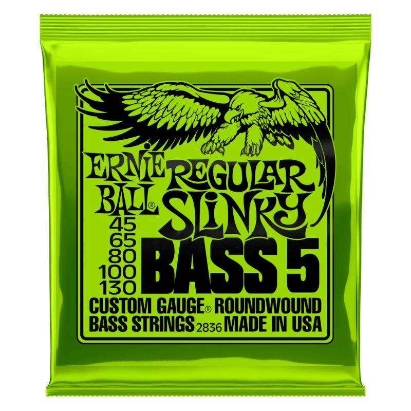 Encordoamento 040 -130 para Baixo 5 Cordas Regular Slinky Niquel P02836 Ernie Ball