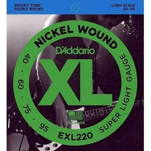 Cordas para Baixo/Contrabaixo 4 cordas Encordoamento D'ADDARIO EXL220 0.40-0.95