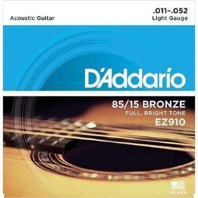 Encordoamento D'ADDARIO EZ910-B 0.11-0.52 Para Violão Aço