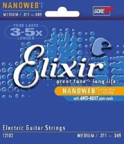 Cordas para Guitarra Encordoamento ELIXIR NANOWEB 0.011-0.049