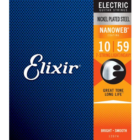 Cordas para Guitarra Encordoamento 7 cordas 010-059 Tensão Média 12074 Elixir