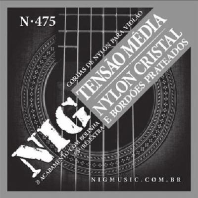 Cordas para Violão de Nylon Encordoamento NIG N-475 Tensão Média