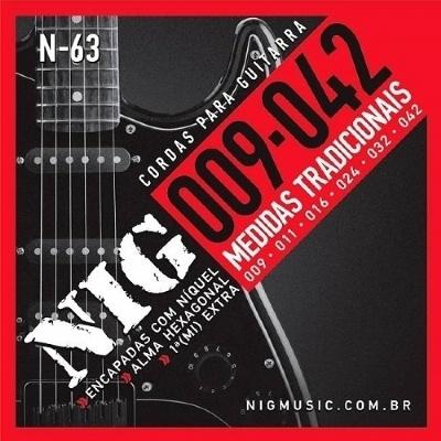 Cordas para Guitarra Encordoamento NIG N63 0,09-0,42