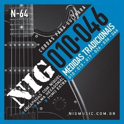 Cordas para Guitarra Encordoamento NIG Nn-64 0,10-046