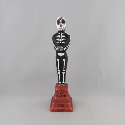 Estatueta Oscar Caveira Mexicana com base cobre