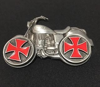 Fivela em metal para cinto unissex - Harley com rodas giratórias