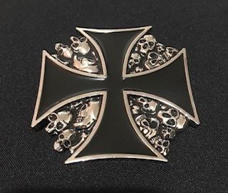 Fivela em metal para cinto unissex - Cruz de malta
