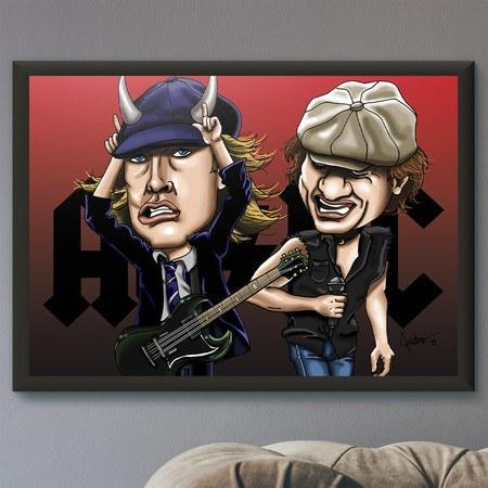 Pôster com Moldura Mitos do Rock AC/DC