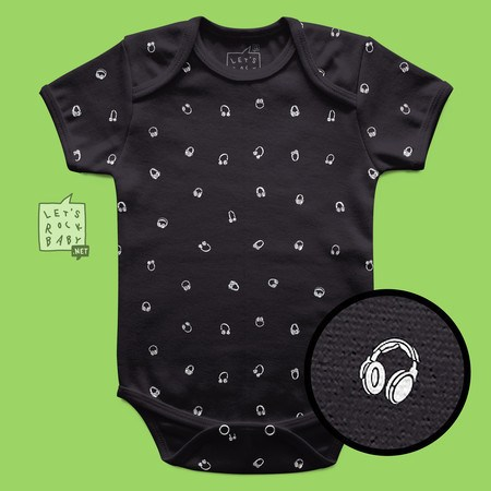 Body Infantil Let's Rock Baby Estampinha Headphones
