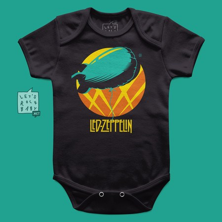 Body Infantil Let's Rock Baby Led Zeppelin Balão
